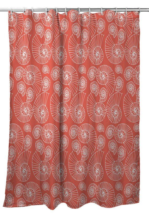 Nautilus Outline Shower Curtain Coastal Shower Curtain Beach