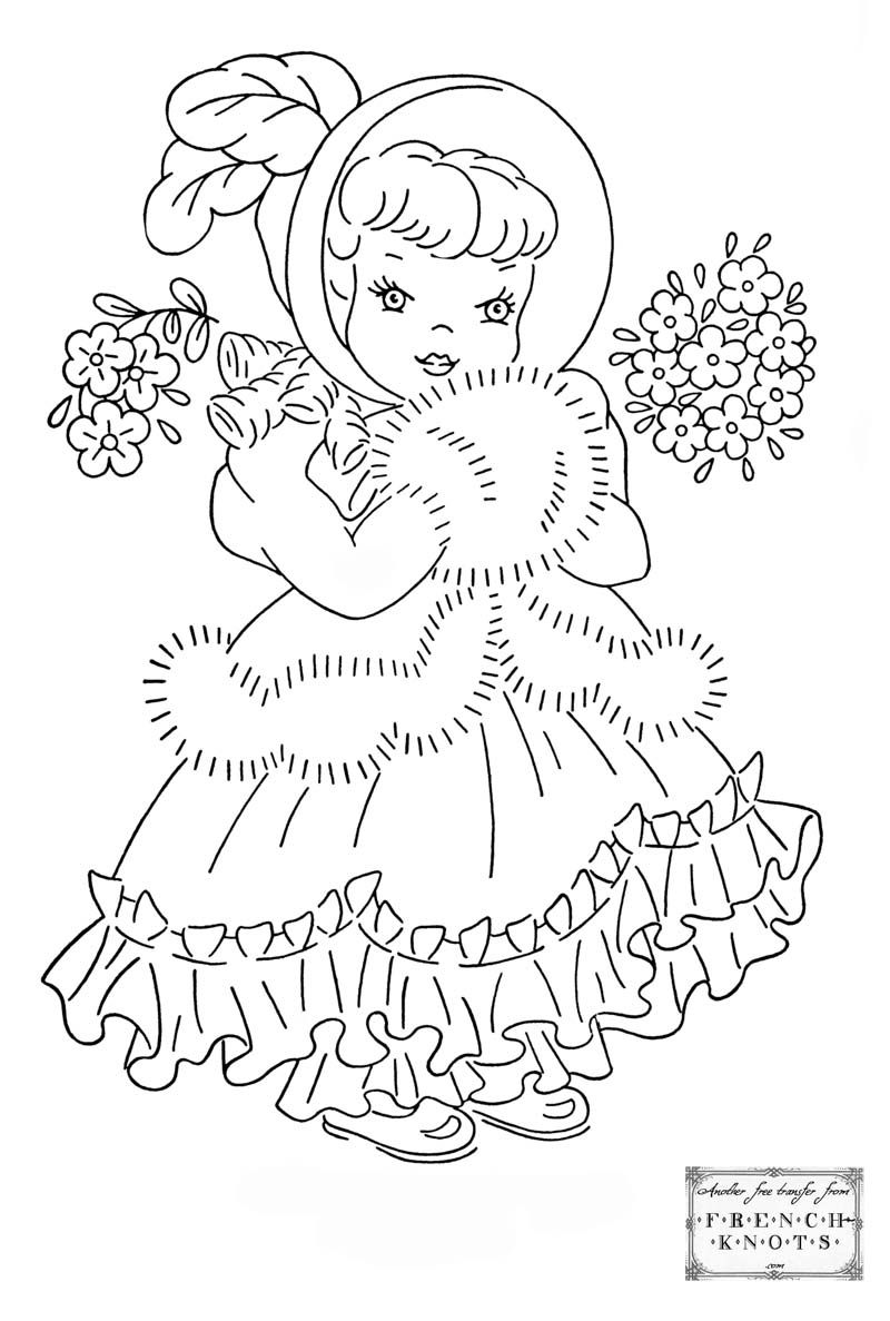 Image detail for -Cute Princess Girl Embroidery Transfer Pattern