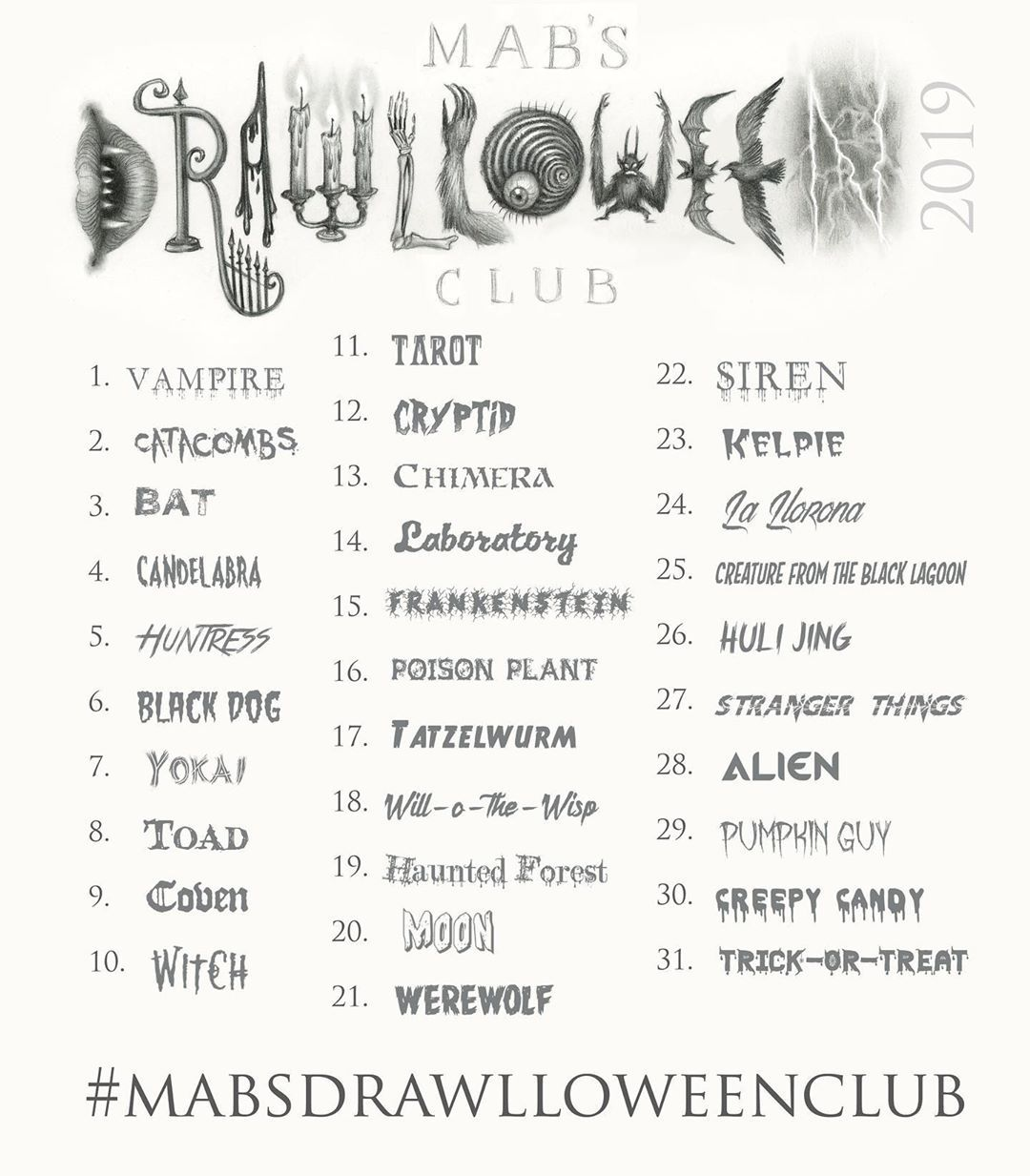 Mabsdrawlloweenclub 2019 Official Prompt List #drawingprompts