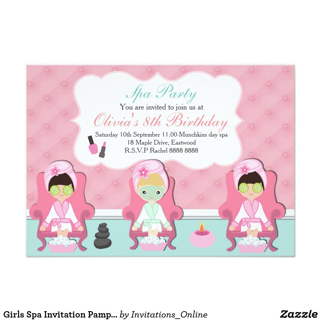 Girls Spa Invitation Pamper party Invite | Pinterest | Pamper party ...