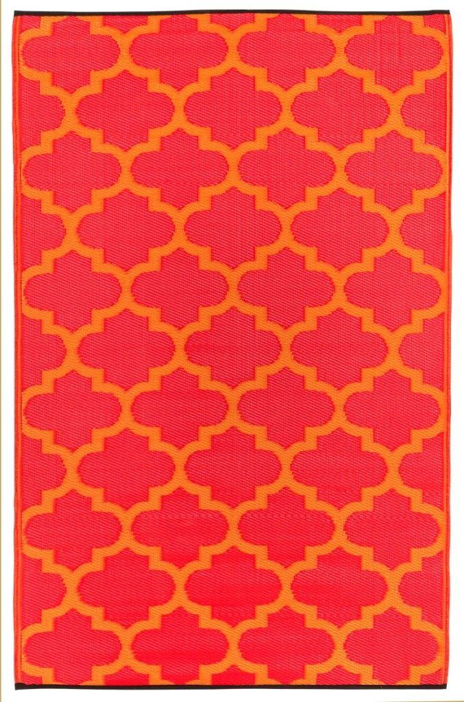 Indoor Outdoor Rug Geo Rouge Red Orange Fab Habitat Orange Rugs Indoor Outdoor Rugs