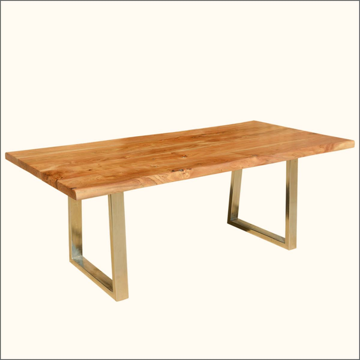 Modern Live Edge Dining Table Rustic Solid Wood Industrial Iron