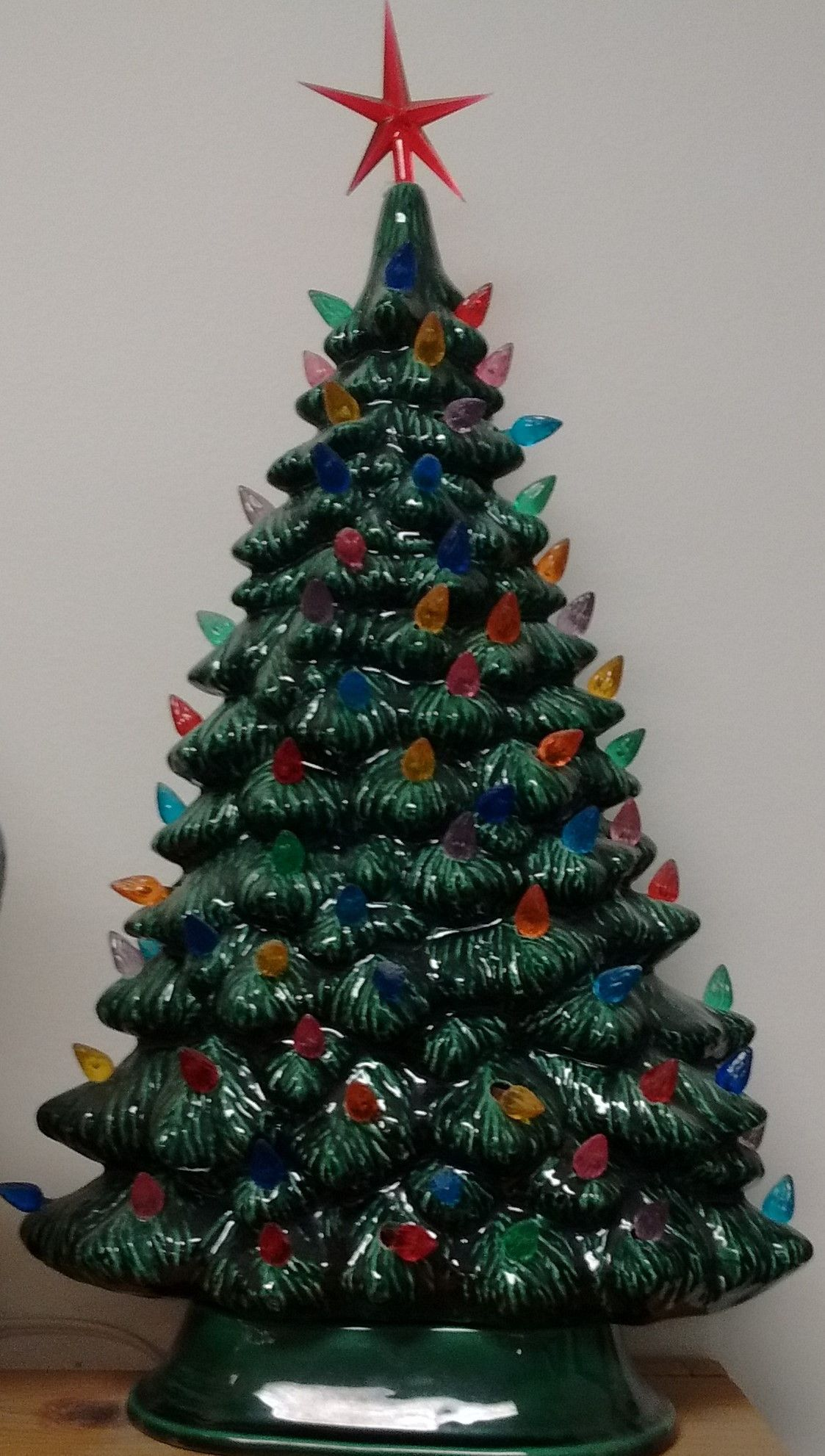 16 Classic Ceramic Christmas Tree With Bulbs Light Kit