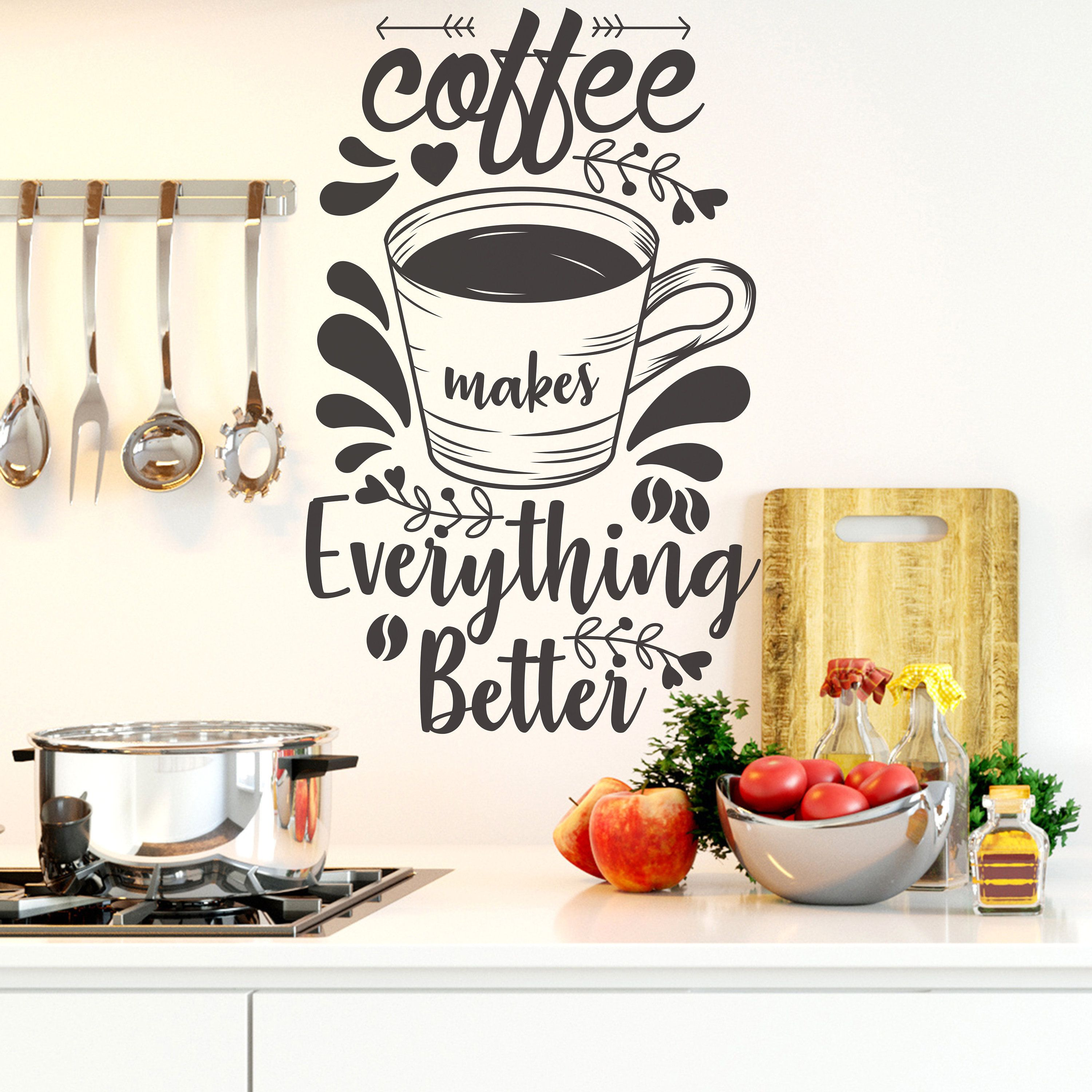 Coffee Coffee Quotes Coffee Decals Kitchen Decor