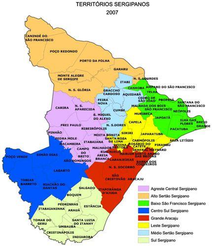 Territorios Sergipanos Mapa Do Estado De Sergipe Por
