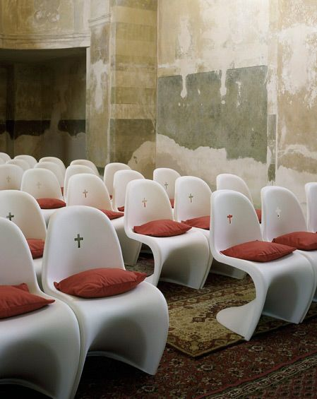 Modern church, use of furniture (pantone chair)