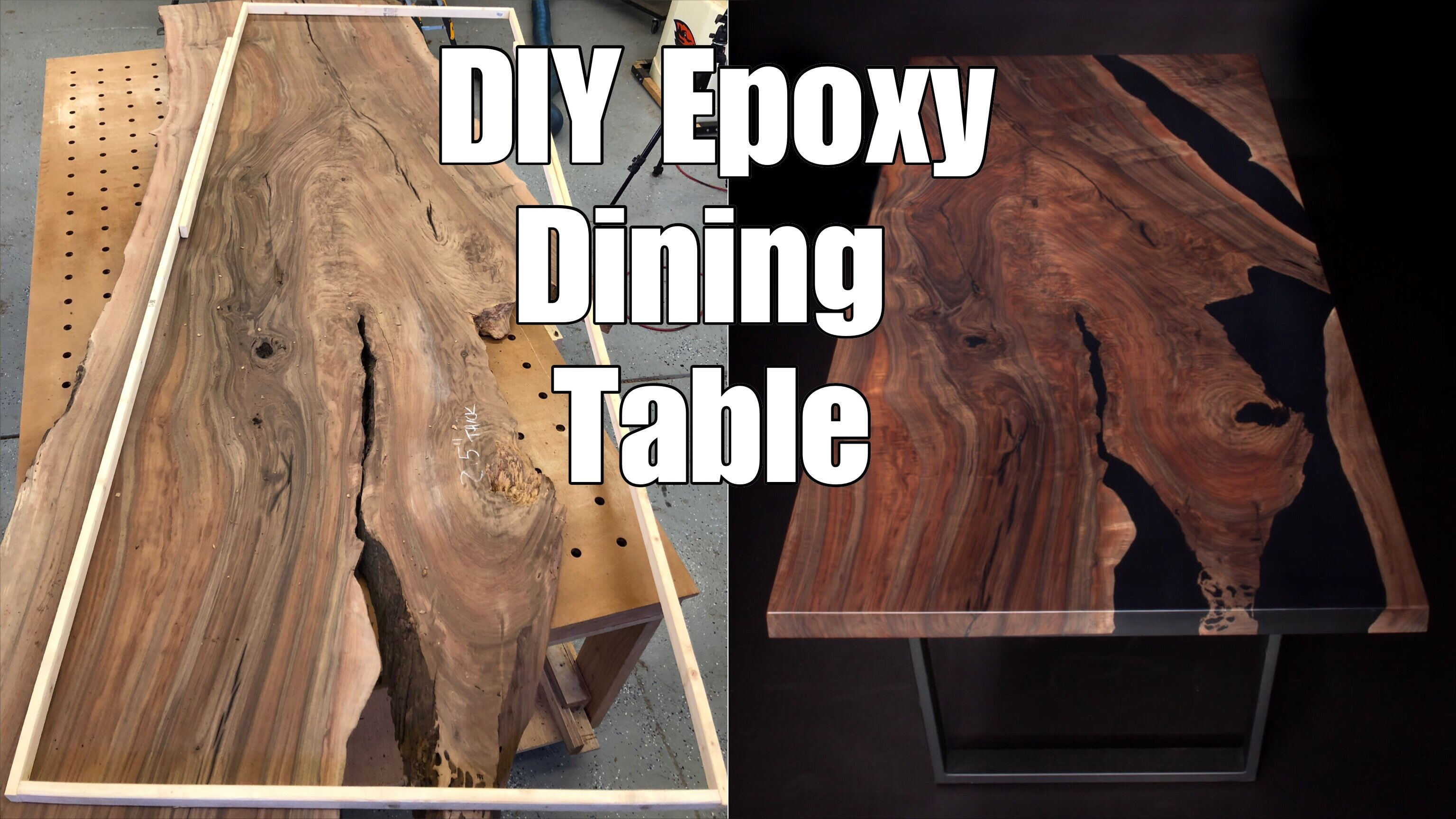 YouTube tutorial on how to make your own epoxy and wood dining table #epoxytable #resintable #epoxyrivertable #ecopoxy