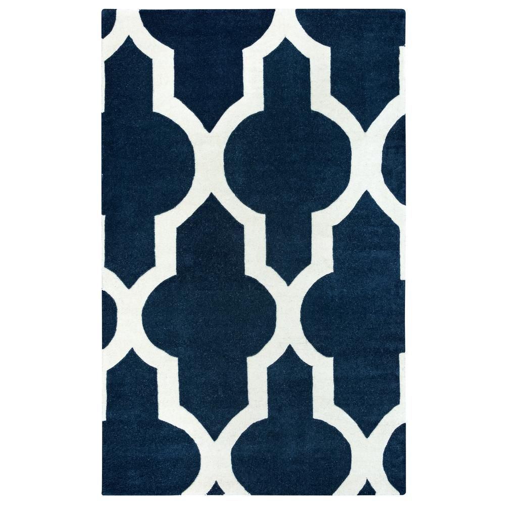Volare Navy Blue Trellis Hand Tufted Wool 2 Ft X 3 Ft Accent Rug Hand Tufted Rugs Area Rugs Wool Area Rugs