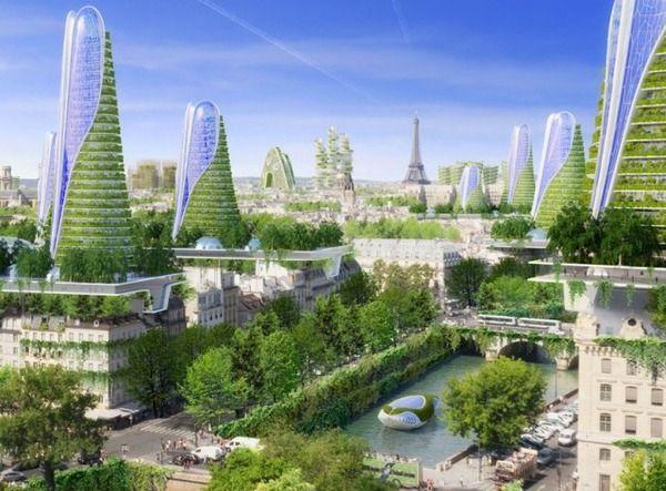 2050年の未来都市スマートシティinパリの構想イメージ 緑の建築 近