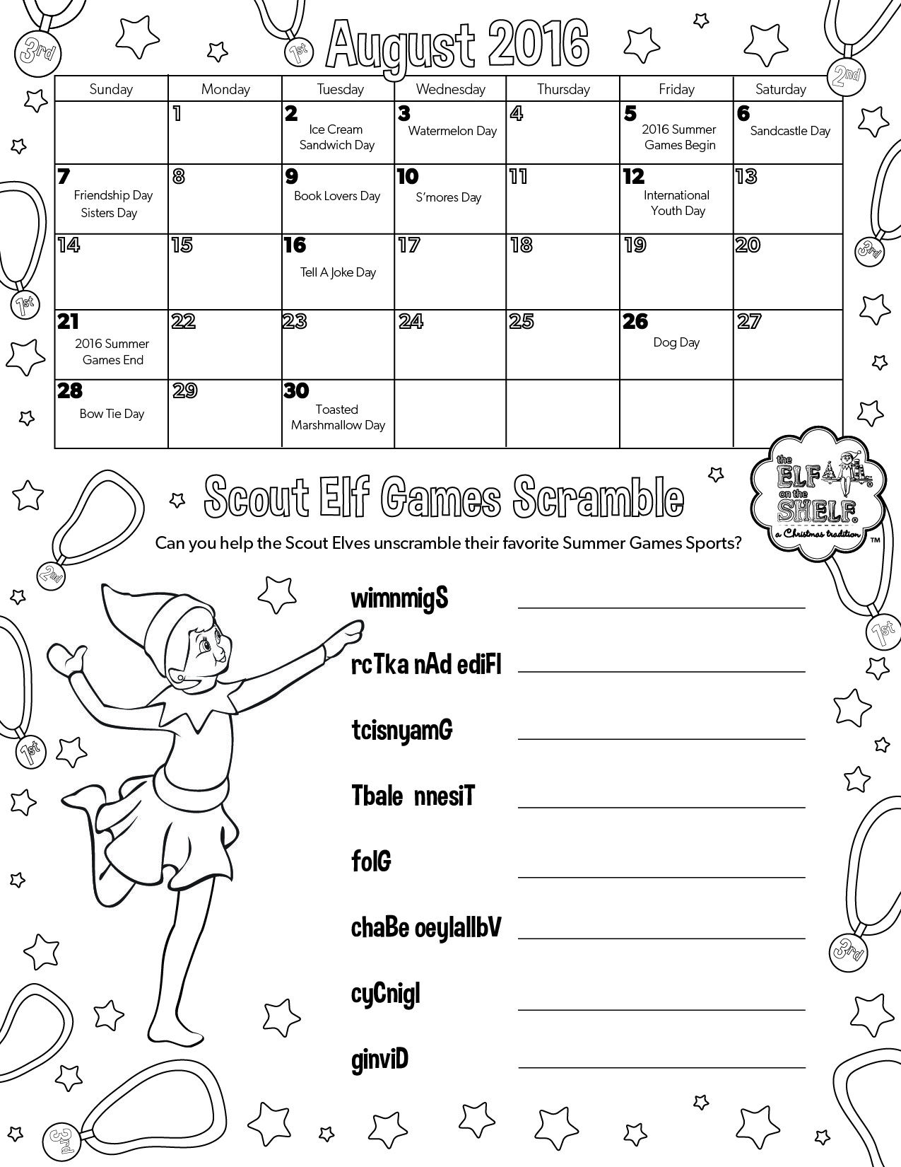 Calendar Zambia Pdf : August calendar printable coloring page for kids
