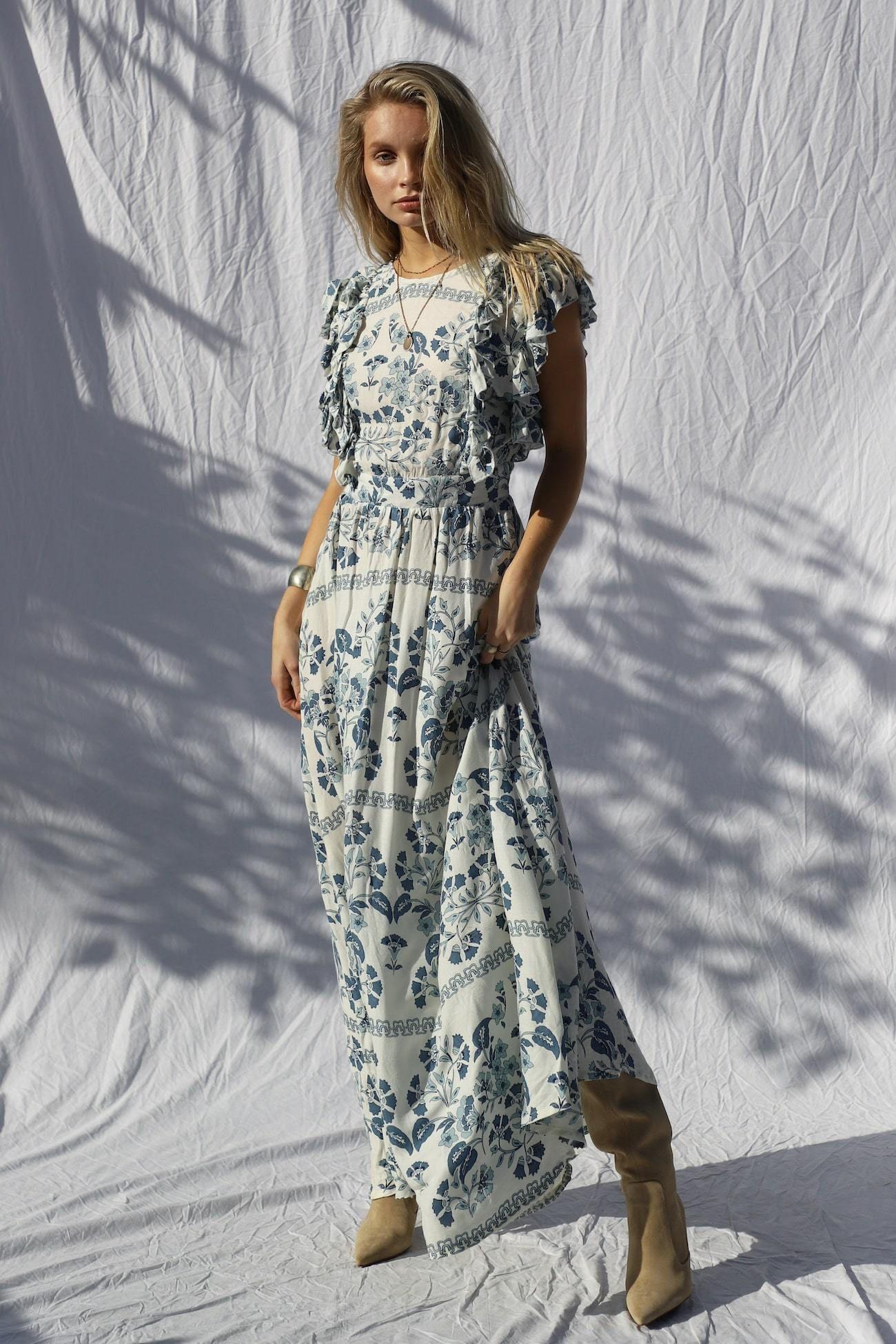 Flower Court Maxi Dress In 2021 Maxi Dress Viscose Maxi Dress Maxi Dress With Sleeves [ 1950 x 1300 Pixel ]