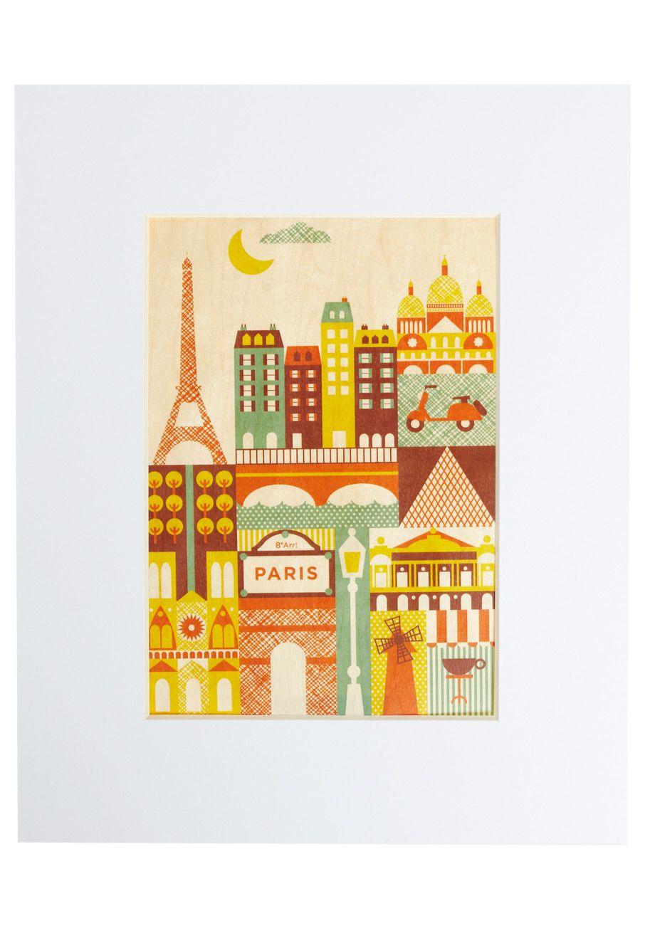 I Wood Leave Tomorrow Print in Paris, #ModCloth | Illustration + ...