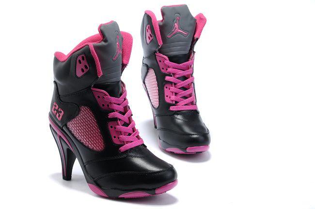 pink nike and air jordan high heel sneakers