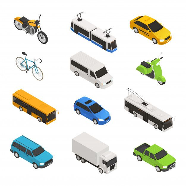 Download City Transport Isometric Icon Set With Different Isolated Taxi Bus Bike Motorcycle Trolley Bus Pickup Vector Illustration for free