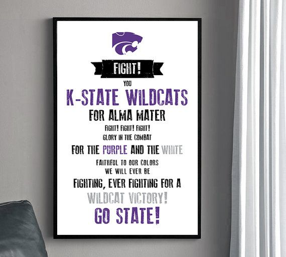 K STATE Fight Song Poster  Kansas State University by HENANDCO, $22.00