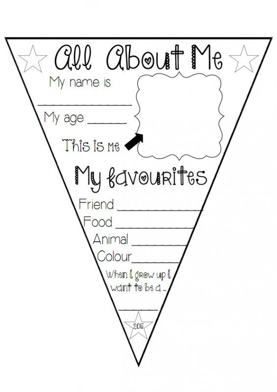 This quotall about mequot bunting can be used at the beginning for About me template for students