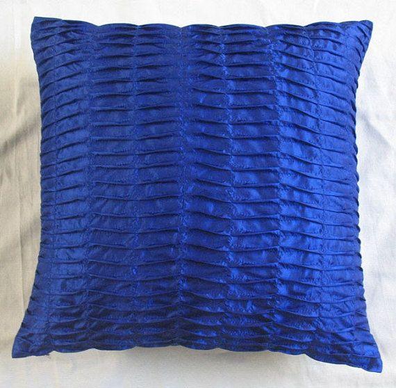 Stock Clearance 20 Off Cobalt Blue Pintuck Throw Pillow 16 Inch
