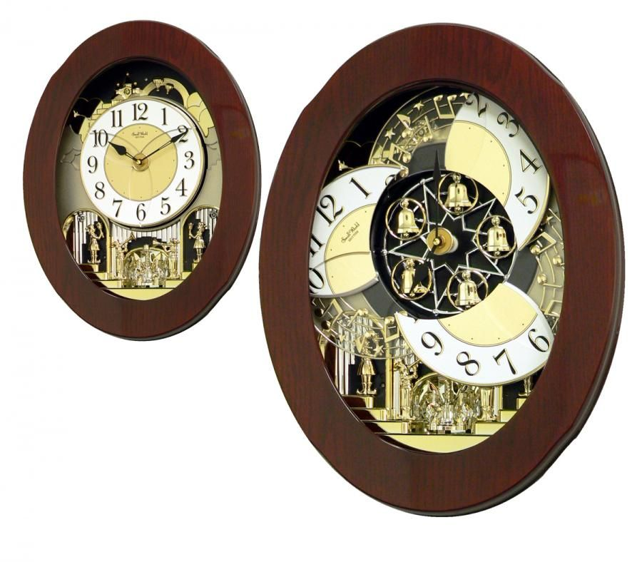 Clockway Rhythm 30 Melodies Musical Motion Wall Clock Including Holiday Melodies Wooden Case Wall Clock Clock Steampunk Clock
