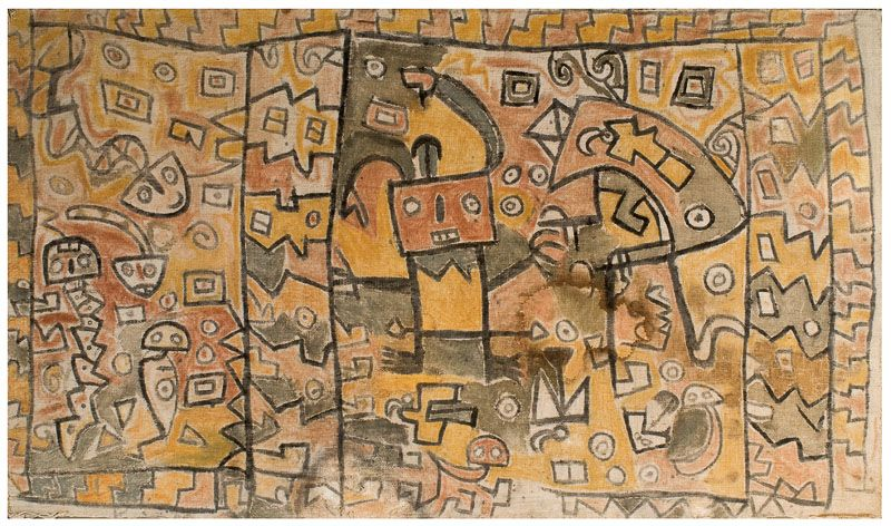 Huari Painted Textile Panel (700 - 900 AD). Coast of South America - The Curator's Eye
