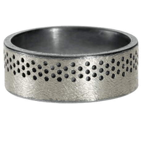 trdr207 | Palladium and sterling silver band with drilled texture and patina.