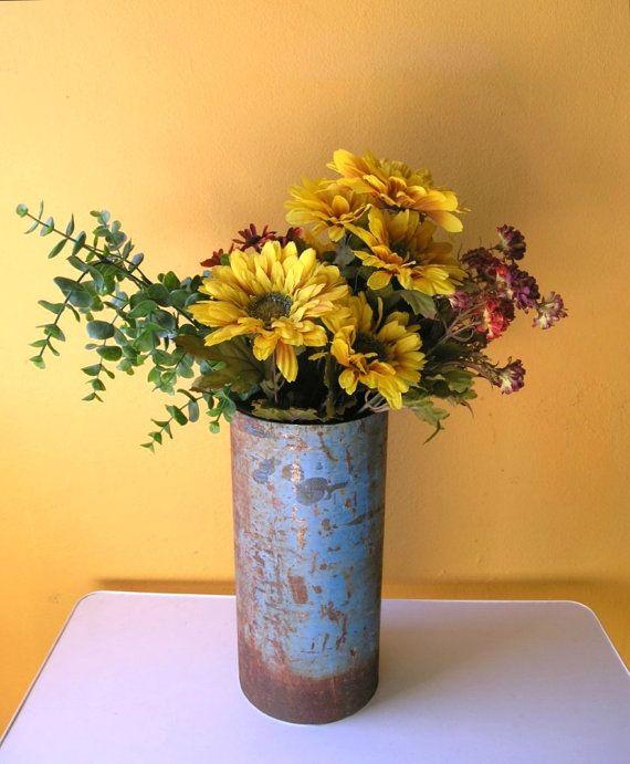 Rustic Metal Center Pieces Rustic Vase Industrial Decor Table Centerpiece Metal Vessel Flower Rustic Vase Flower Vases Metal Flowers