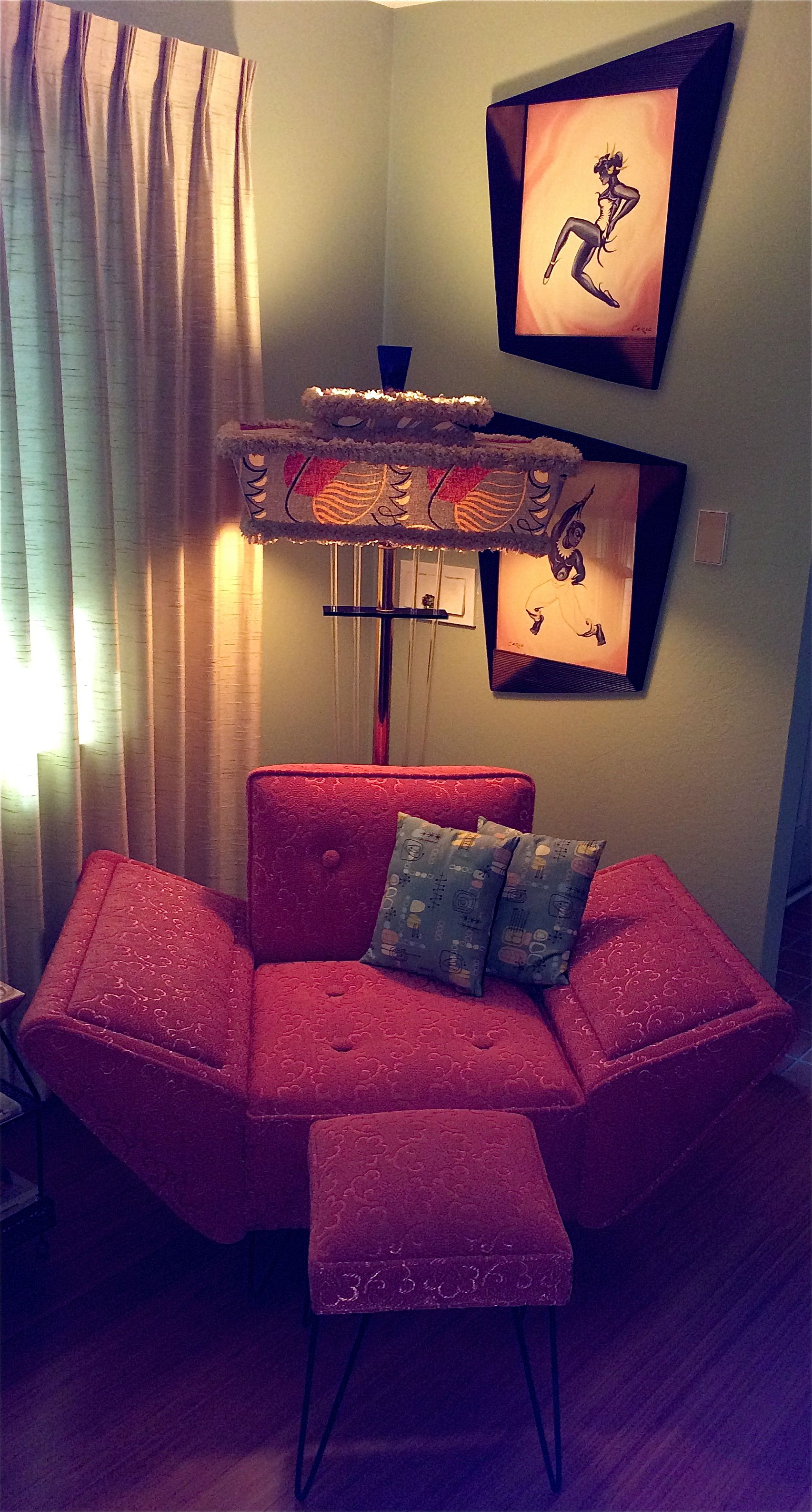 Pink Frieze Chair Moss Floor Lamp Pair Of Carlo Hollywood Watercolors Perfect Cat Id Add Aqua Barkcloth Drapes And Some Shag Pictures
