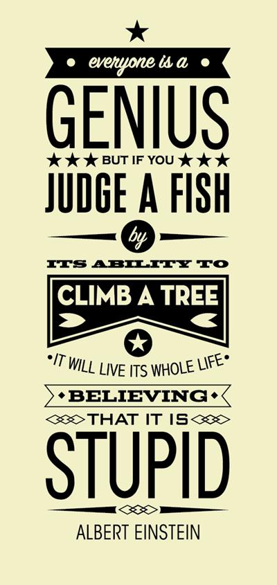 Fish Motivational Quotes: Einstein Quote Poster - Dude Craft