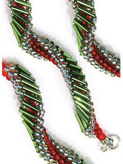 Holiday Swirl by Janel Gradowski. Spiral stitch a curling ribbon bracelet using bugle beads and seed beads in holiday colors! Download this holiday beading project instantly from the Beading Daily Shop!