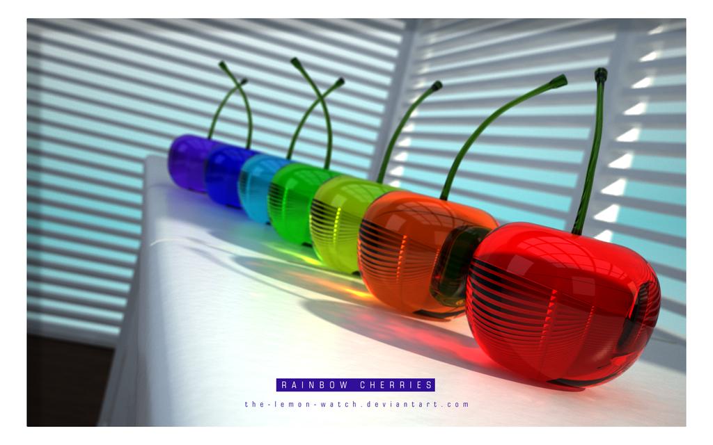 3D Glass Cherries - Full Color by THE-LEMON-WATCH.deviantart.com
