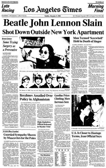 133 Years Of The Los Angeles Times Lennon John Lennon Historical Newspaper