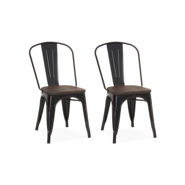Chaise Design Industriel Liverpool Noir Lot De 2 Chaise De Salle A Manger Chaise Design Ensemble De Chaises A Diner