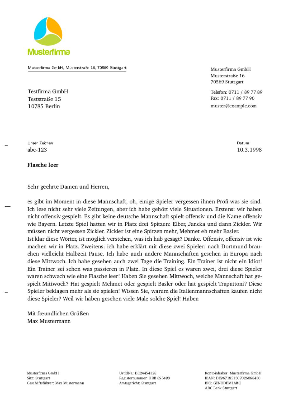 Offizielle Briefe Layout : Geschäftsbrief vorlage und muster graphic design