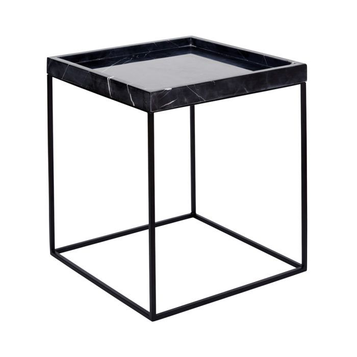 Tray Table Black With Black Marble Urban Couture Design Homewares Marble Tables Living Room Black Side Table Marble Round Coffee Table
