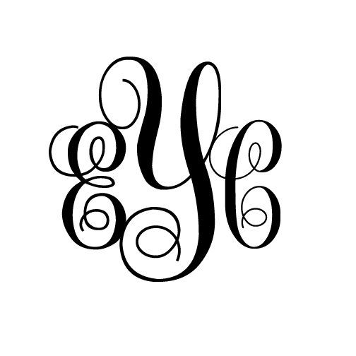 3 letter monogram initials decal sticker by stickedecals on etsy