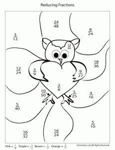 Valentine's Day reducing fractions worksheet | * Valentine's Day ...