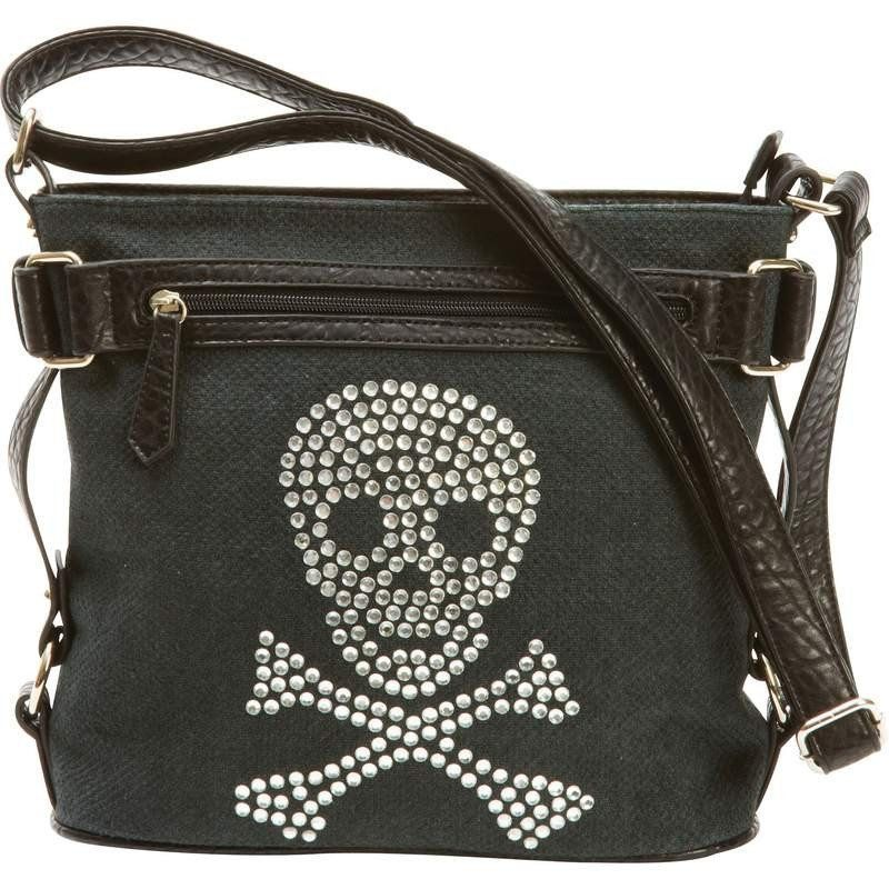 Handbag with Rhinestone Skull, Biker Purse – Barsa Store
