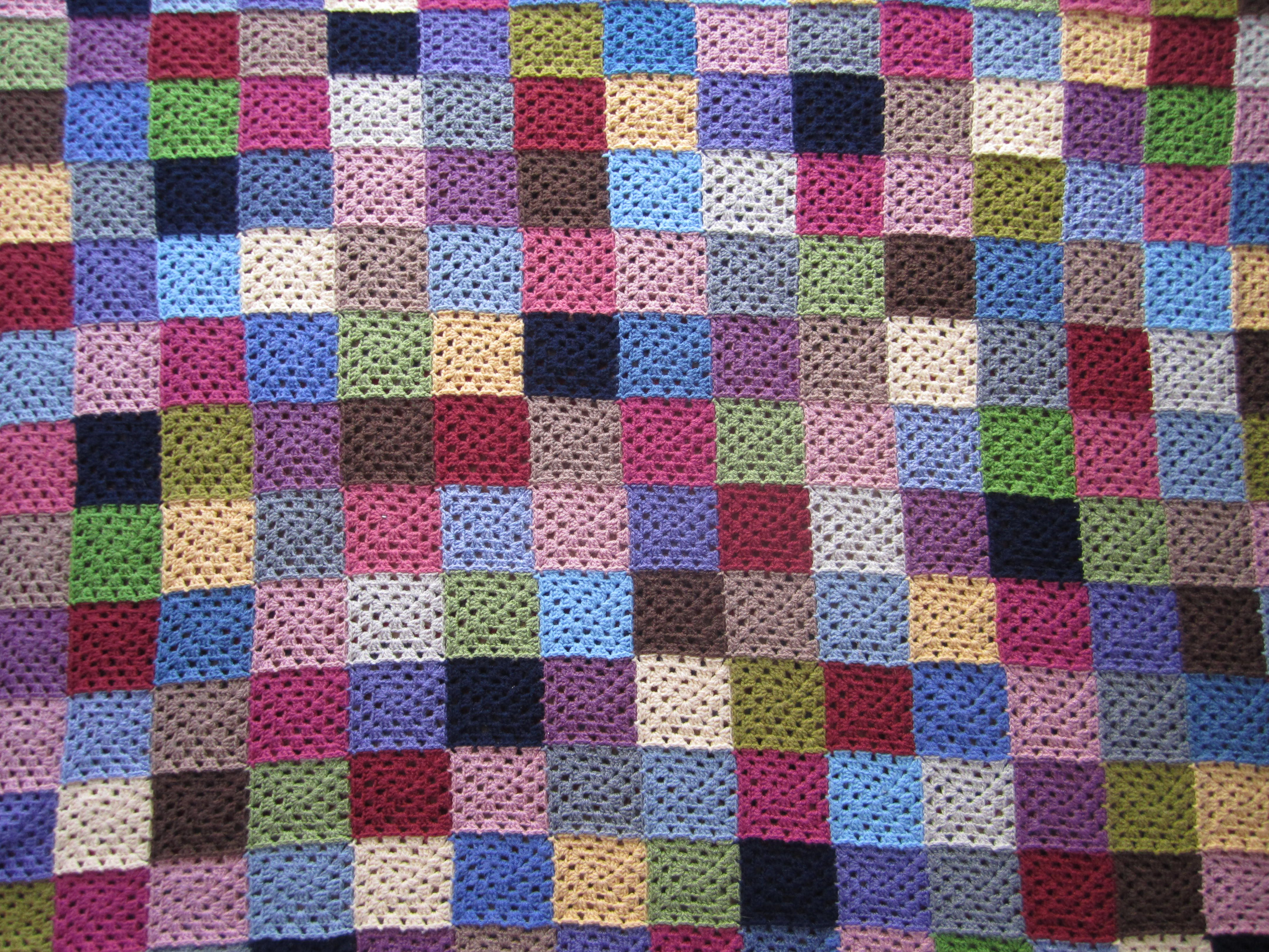 Granny square crochet solid colour blanket in stylecraft - perfect for using up odds and ends