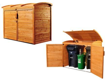 Made from weather-resistant cypress wood, this Horizontal Refuse Storage Shed from Overstock.com opens from the front and top. Trash cans and recycling bins are as easily made invisible as they are accessible.