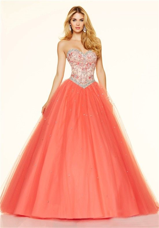 Ball Gown Sweetheart Drop Waist Corset Back Coral Tulle Beaded Prom ...