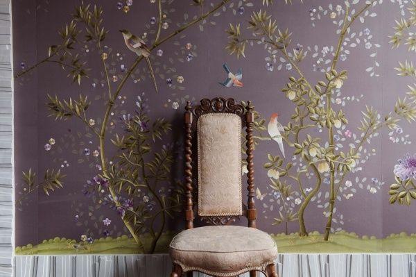 Asiatische Tapete chinoiserie tapeten aus seide lila chinesische muster vögel room n