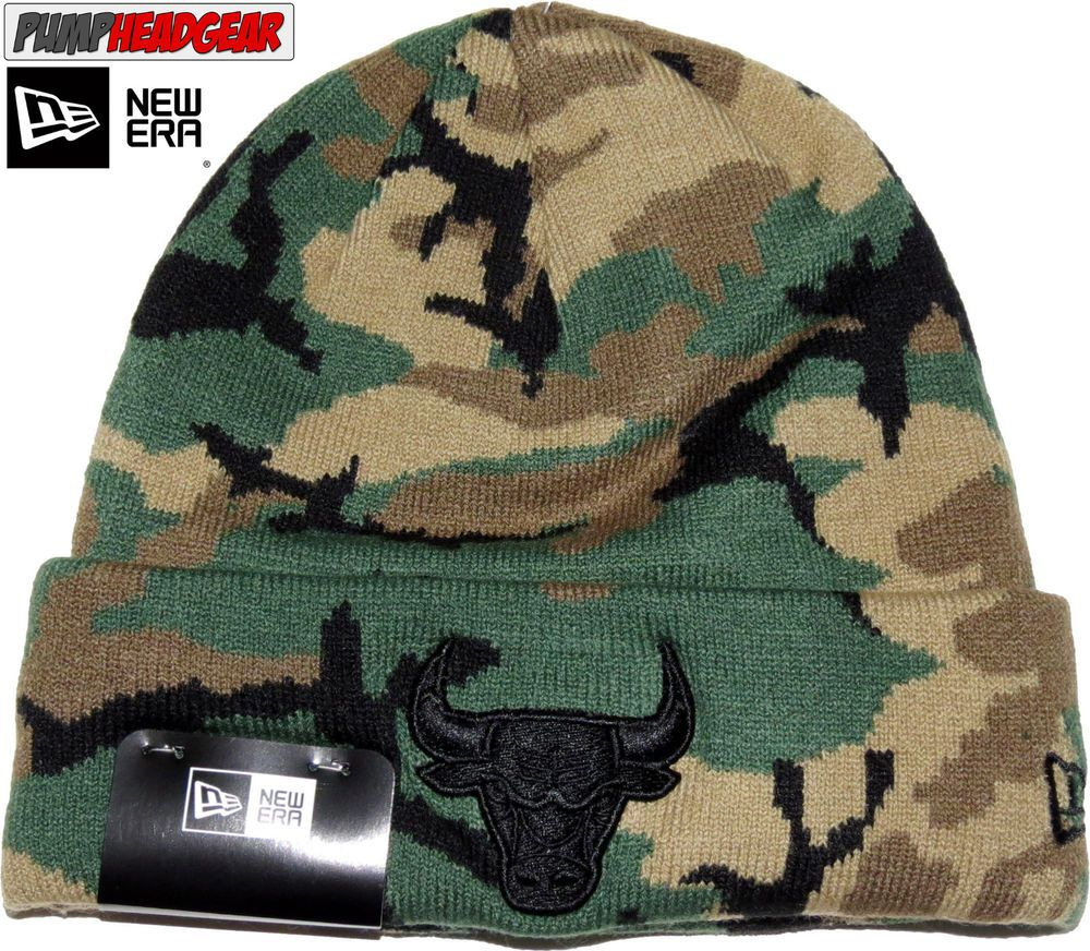 17b69302f Chicago Bulls New Era Woodland Camo Skull Knit Beanie #NewEra ...