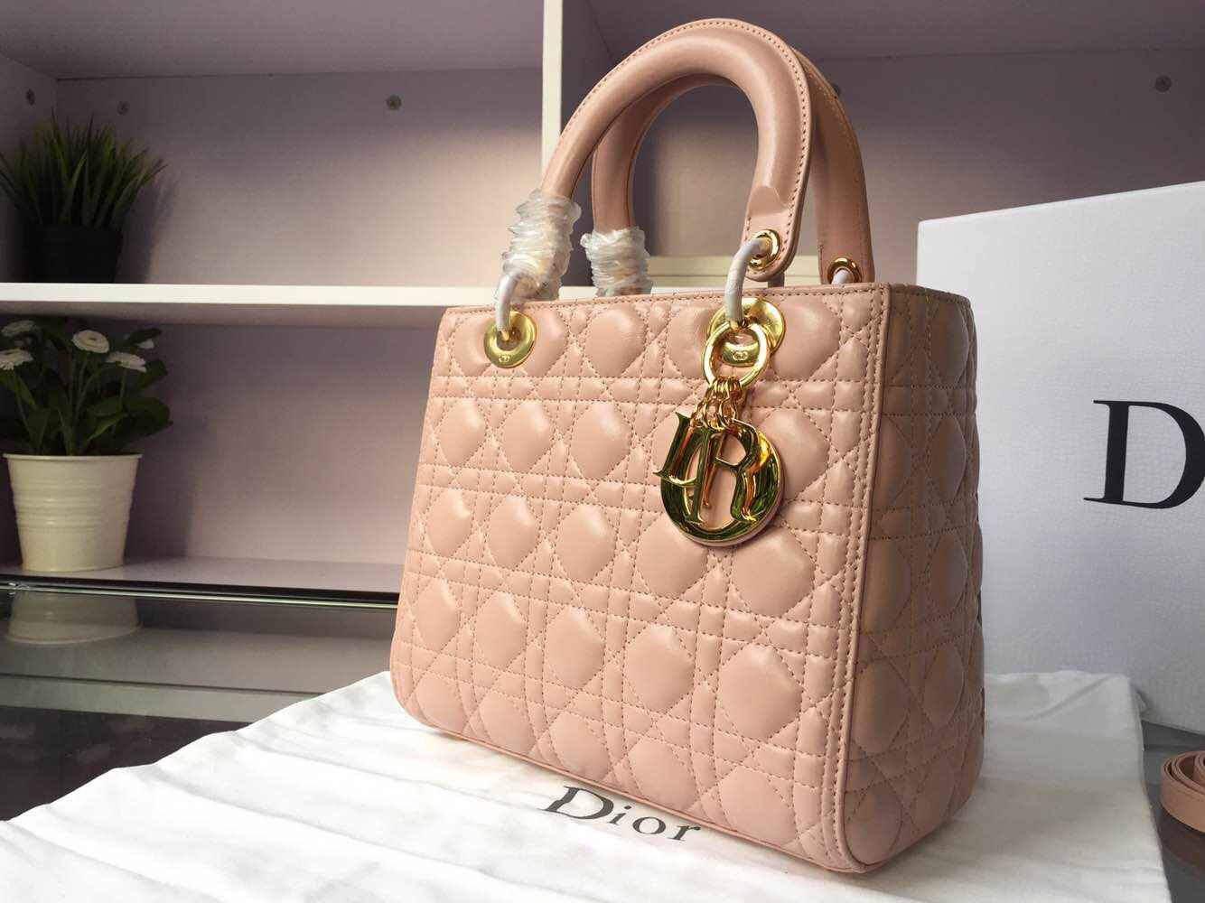 af469eb6cbf Christian Dior Lady with nude colour lambskin leather gold hardware,  adjustable & detachable shoulder