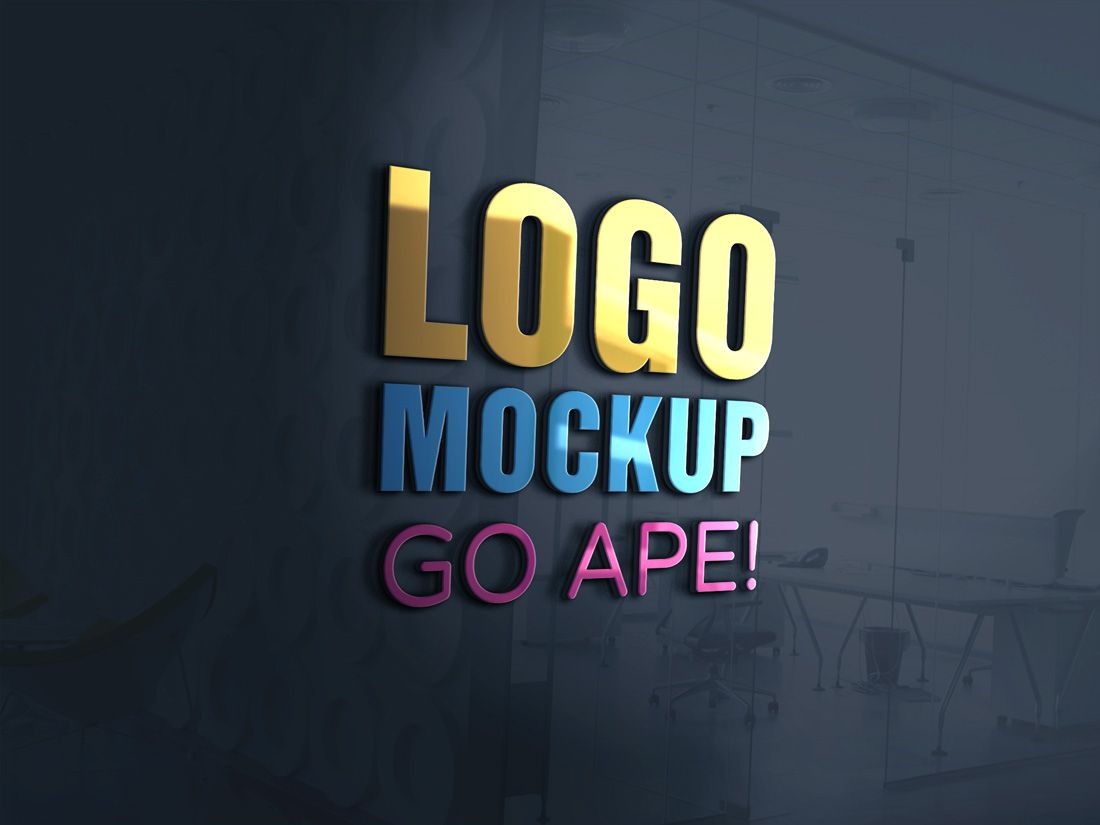 3d Glass Window Logo Mockup Free Logo Mockup Free Logo Mockup Psd Logo Mockup