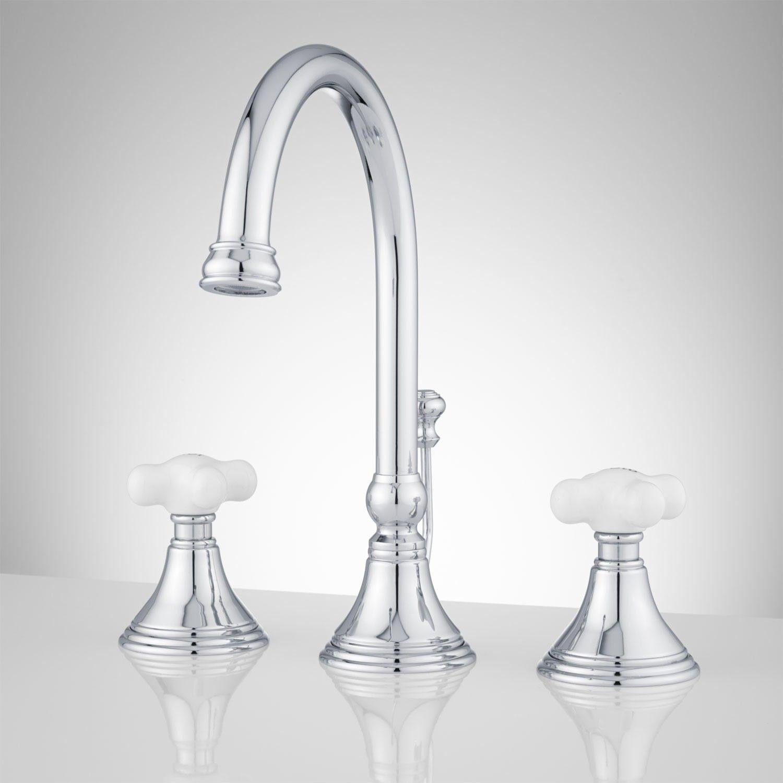 Melanie Widespread Gooseneck Bathroom Faucet Small Porcelain