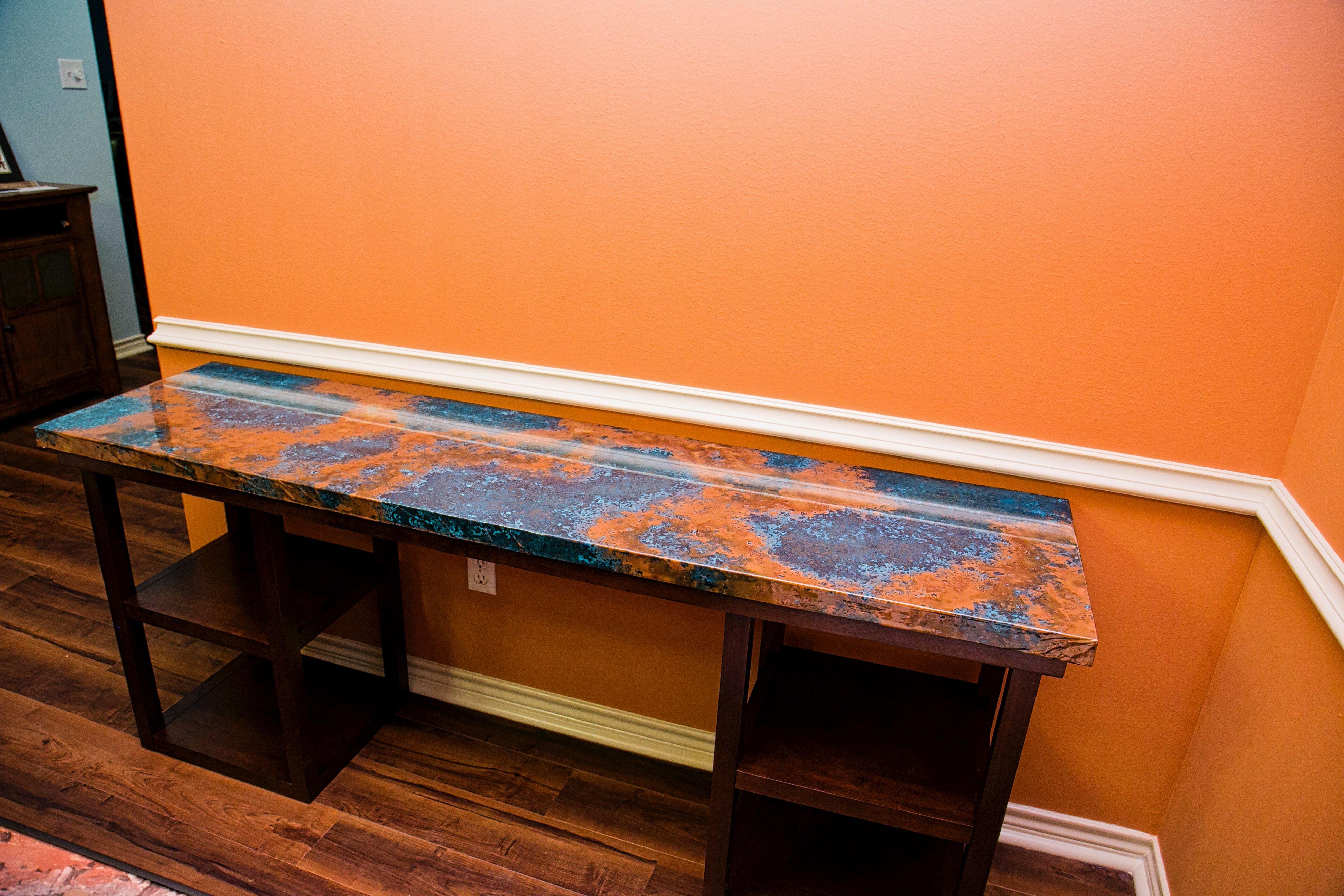 Azul Patina Copper Sheet Countertop Google Search Copper Table Copper Countertops Copper Top Table