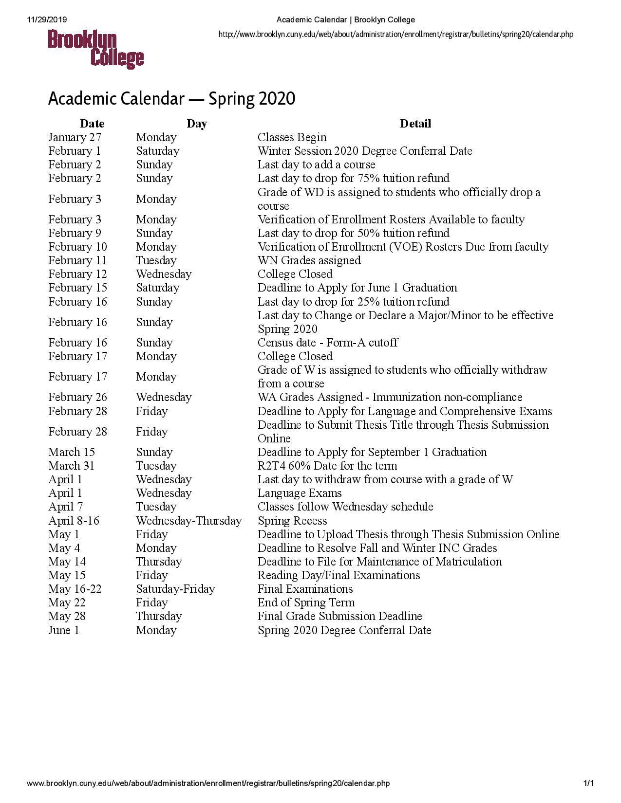 Cuny 2022 Spring Calendar.Brooklyn College Calendar With Holidays Printable Https Www Youcalendars Com Brooklyn College Calendar Html Academic Calendar Calendar College