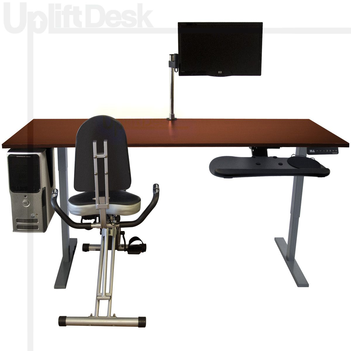 The Uplift Complete Exercise Desk Is A Total Ergonomic Desk Solution For Users Looking To Completely Transform Their W With Images Desk Workout Desk Adjustable Height Desk