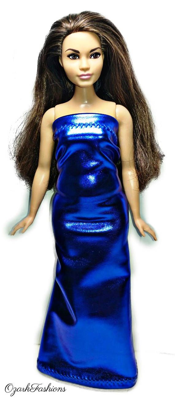 Curvy purple shimering party dress For Your Curvy Barbie Doll Au Made
