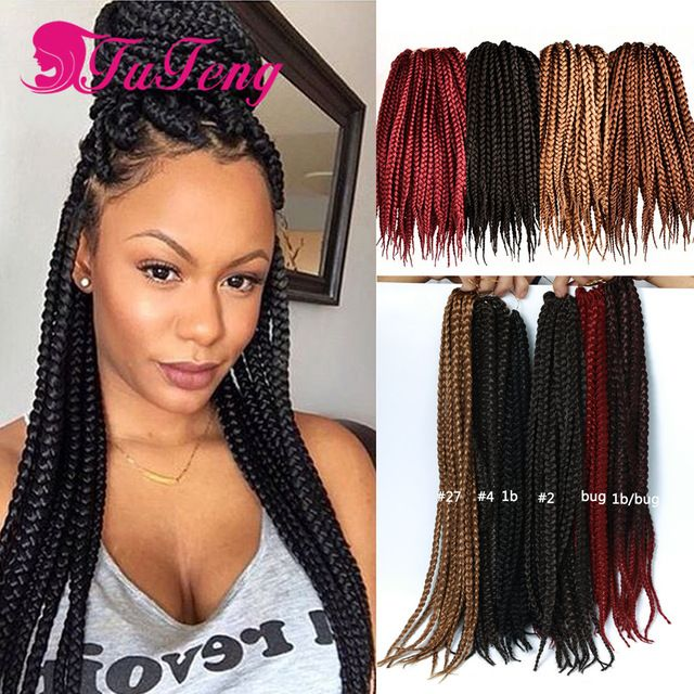 styling synthetic hair extensions box braid style 18 inch 6 packs black color synthetic hair 3628