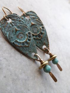 Ruffled Feathers ... Bronze Metal Clay and by juliethelen on Etsy